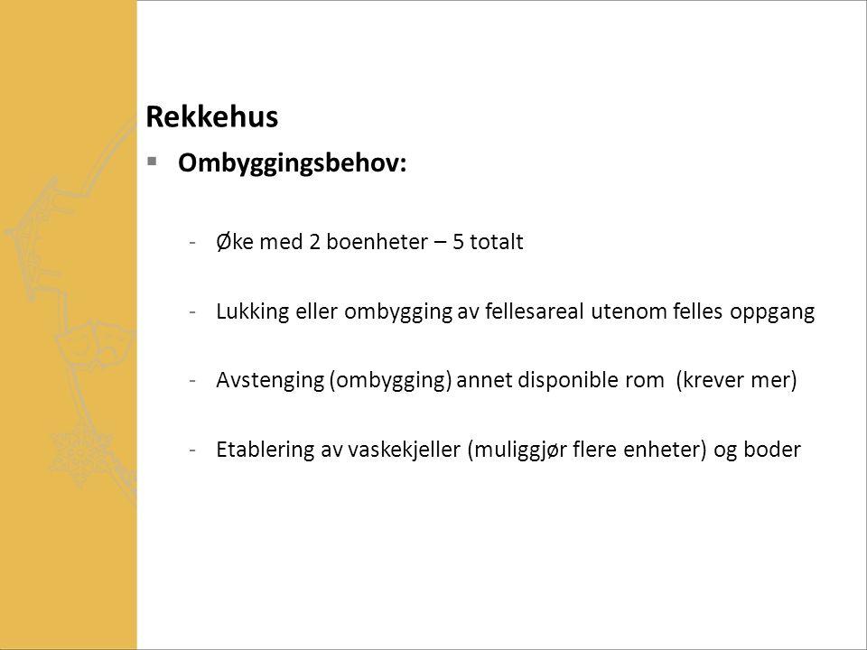 Rekkehus  Ombyggingsbehov: -Øke med 2 boenheter – 5 totalt -Lukking eller ombygging av fellesareal utenom felles oppgang -Avstenging (ombygging) anne