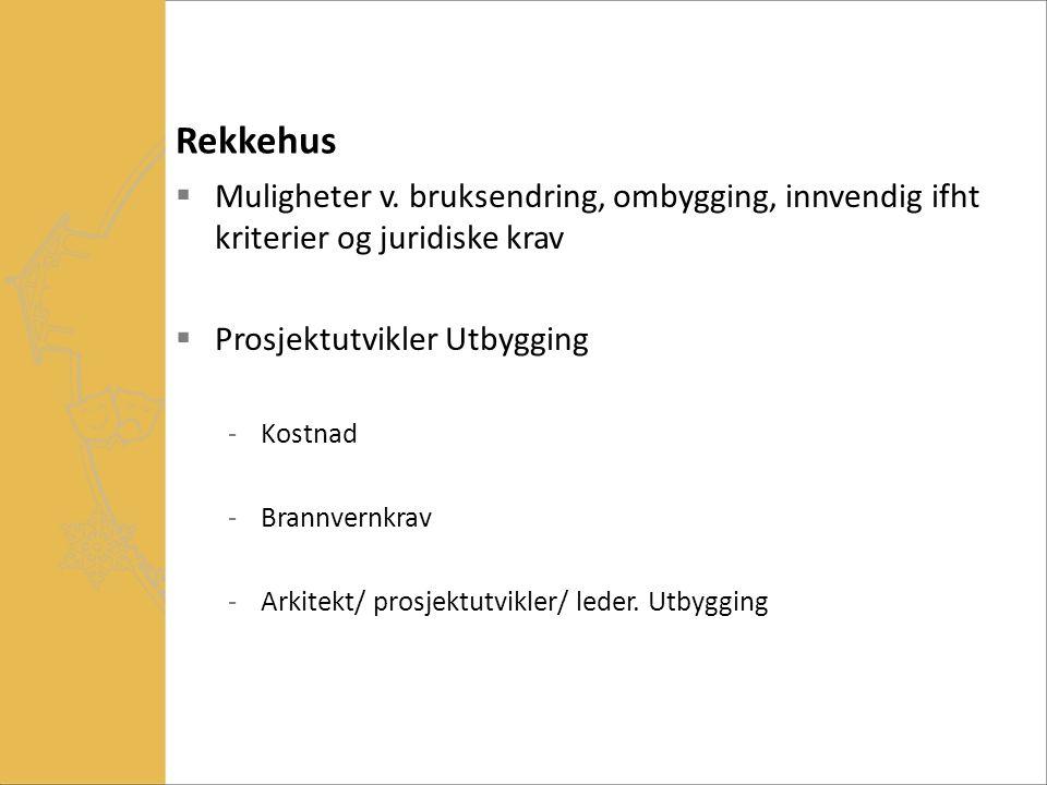 Rekkehus  Muligheter v. bruksendring, ombygging, innvendig ifht kriterier og juridiske krav  Prosjektutvikler Utbygging -Kostnad -Brannvernkrav -Ark