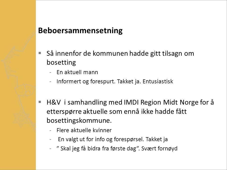 Beboersammensetning  Så innenfor de kommunen hadde gitt tilsagn om bosetting -En aktuell mann -Informert og forespurt. Takket ja. Entusiastisk  H&V