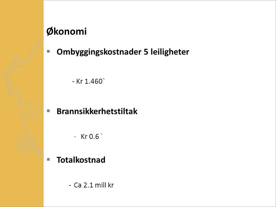 Økonomi  Ombyggingskostnader 5 leiligheter - Kr 1.460`  Brannsikkerhetstiltak -Kr 0.6 `  Totalkostnad -Ca 2.1 mill kr
