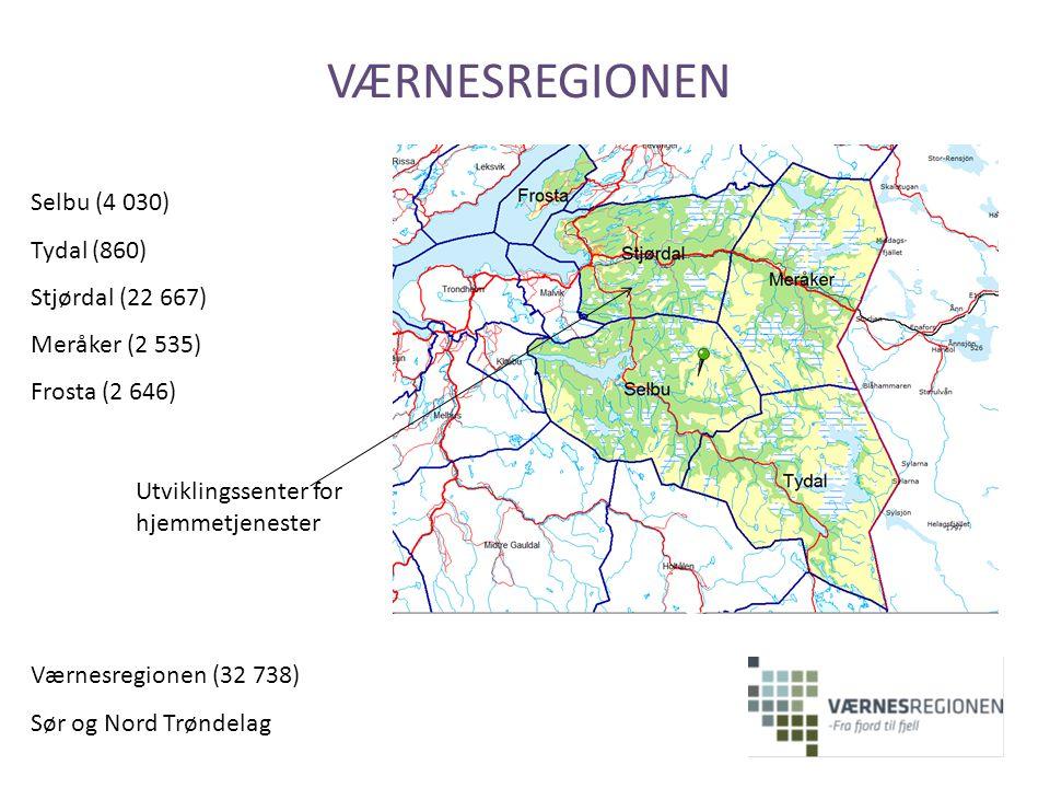 VÆRNESREGIONEN Selbu (4 030) Tydal (860) Stjørdal (22 667) Meråker (2 535) Frosta (2 646) Utviklingssenter for hjemmetjenester Værnesregionen (32 738)
