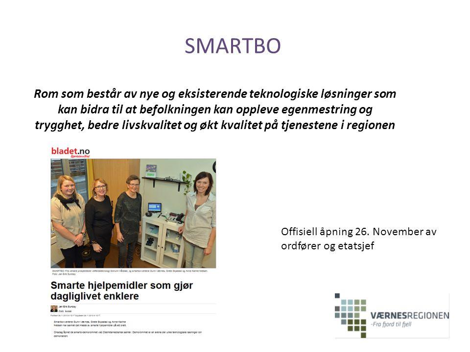 SMARTBO Rom som består av nye og eksisterende teknologiske løsninger som kan bidra til at befolkningen kan oppleve egenmestring og trygghet, bedre liv