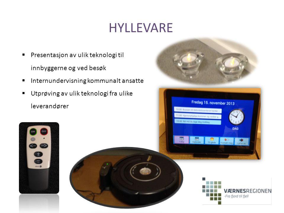 HYLLEVARE  Presentasjon av ulik teknologi til innbyggerne og ved besøk  Internundervisning kommunalt ansatte  Utprøving av ulik teknologi fra ulike