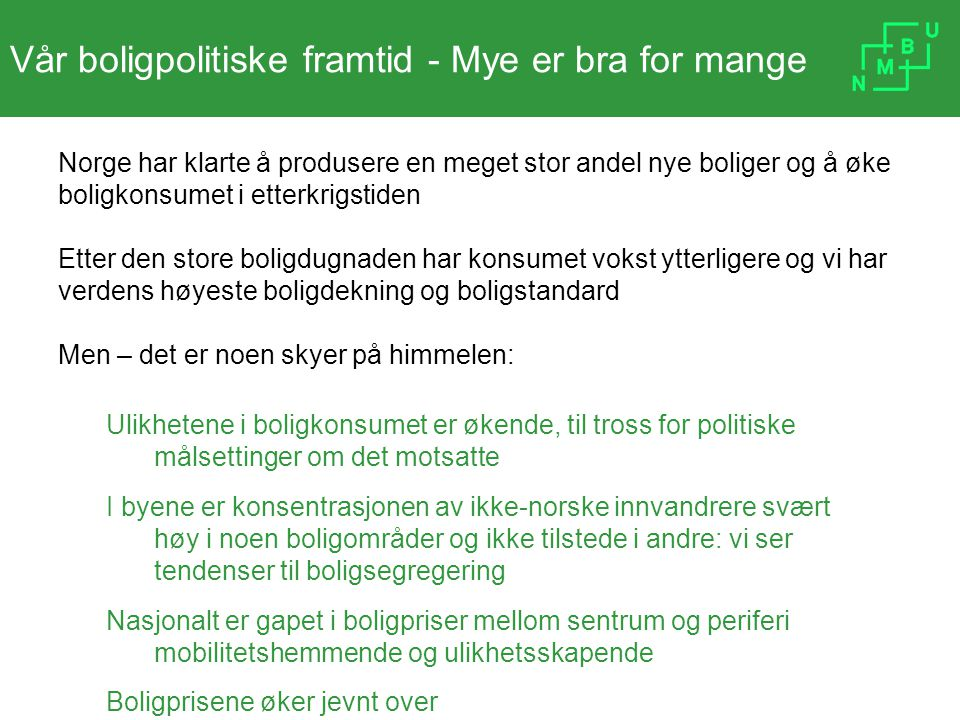 Vår boligpolitiske framtid - Mye er bra for mange Norge har klarte å produsere en meget stor andel nye boliger og å øke boligkonsumet i etterkrigstide