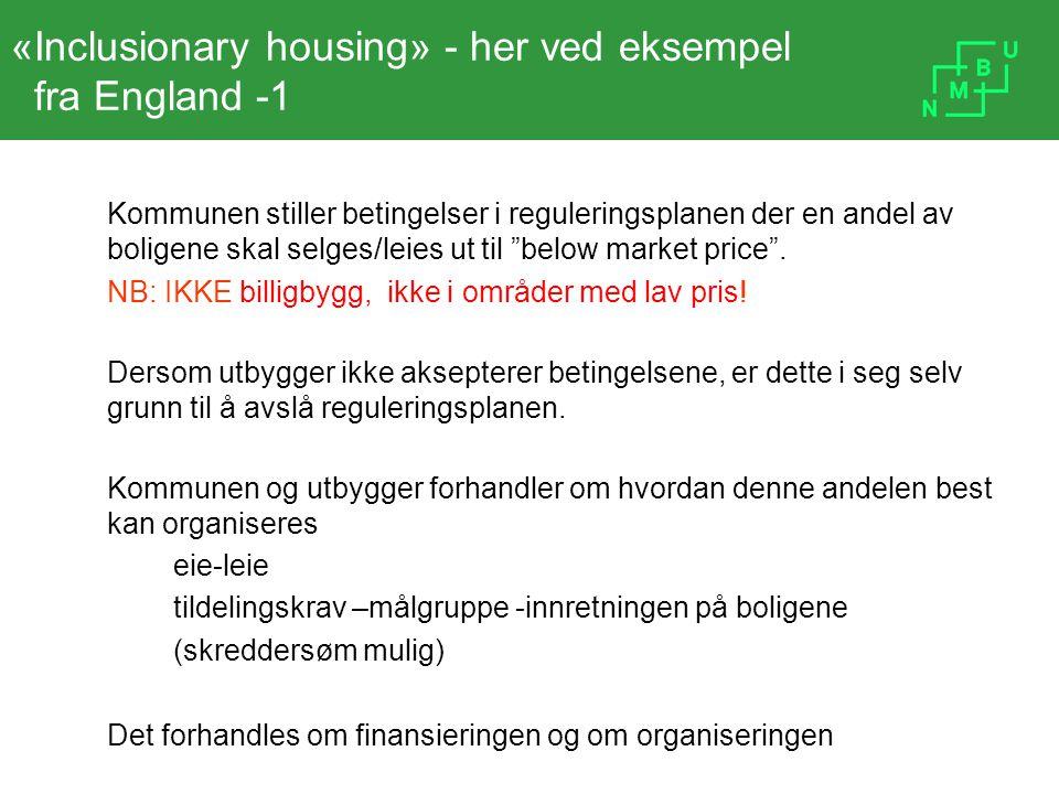 «Inclusionary housing» - her ved eksempel fra England -1 Kommunen stiller betingelser i reguleringsplanen der en andel av boligene skal selges/leies u