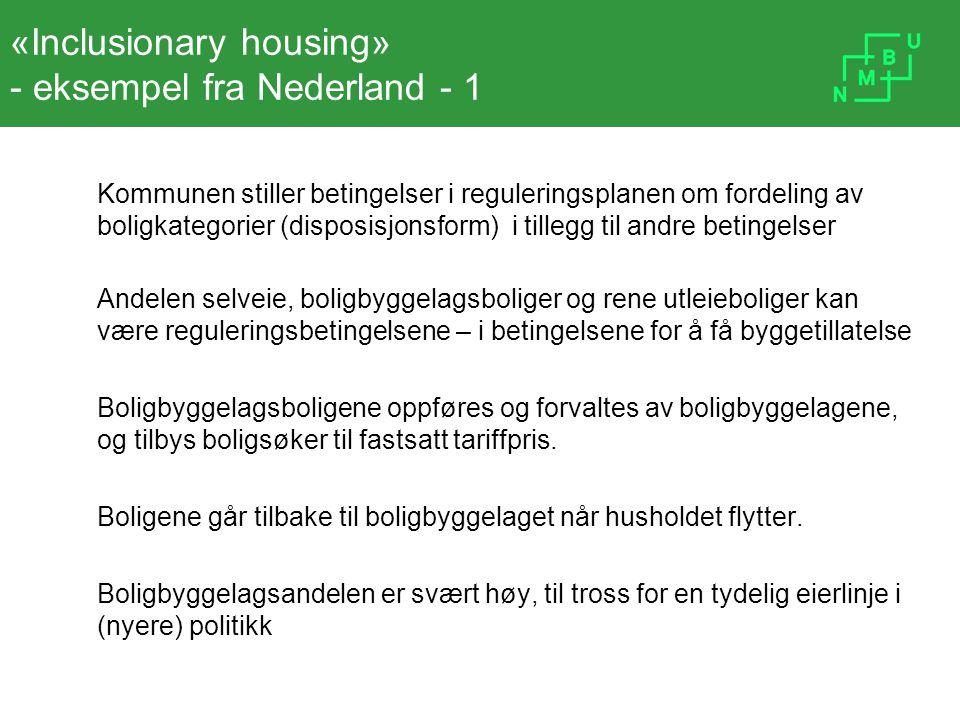 «Inclusionary housing» - eksempel fra Nederland - 1 Kommunen stiller betingelser i reguleringsplanen om fordeling av boligkategorier (disposisjonsform