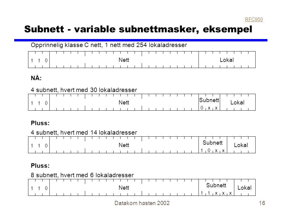 Datakom høsten 200216 Subnett - variable subnettmasker, eksempel RFC950 011 NettLokal Opprinnelig klasse C nett, 1 nett med 254 lokaladresser 011 NettLokal 4 subnett, hvert med 30 lokaladresser Subnett xx0 011 NettLokal 4 subnett, hvert med 14 lokaladresser Subnett 0x1x Pluss: 011 NettLokal 8 subnett, hvert med 6 lokaladresser Subnett x1x1x NÅ: