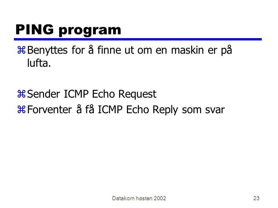 Datakom høsten 200223 PING program zBenyttes for å finne ut om en maskin er på lufta.