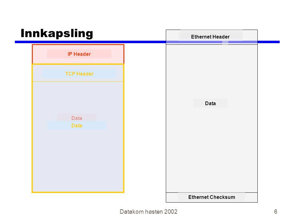 Datakom høsten 20027 Ethernet Header Ethernet Checksum Data Innkapsling IP Header Data TCP Header Data 'Protocoll type' identifiserer neste protokoll som IP (=0800) 'Protocol' definerer neste protokoll som TCP (=6) 'Destination port' definerer applikasjon, f.eks.