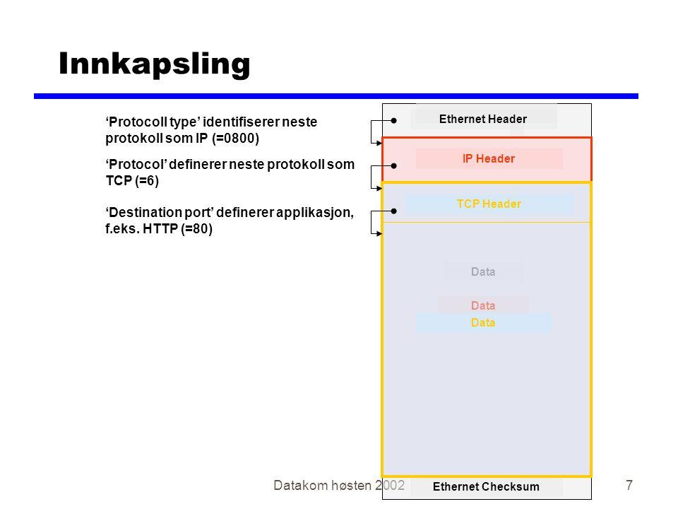 Datakom høsten 20028 zRuting yIP adresser yVeivalg zFragmentering zOverføring('best effort') yUpålitelig yForbindelsesløs Pakker kan: xmistes xdupliseres xkomme i feil rekkefølge IP rydder ikke opp i dette IP - Internet Protocol RFC791