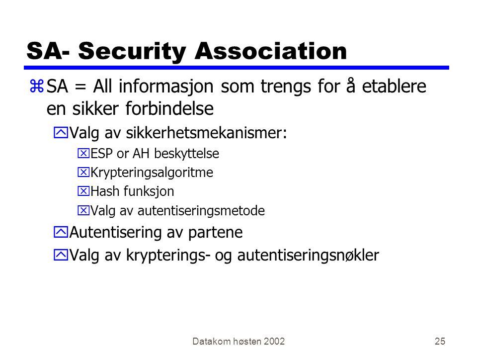 Datakom høsten 200225 SA- Security Association zSA = All informasjon som trengs for å etablere en sikker forbindelse yValg av sikkerhetsmekanismer: xESP or AH beskyttelse xKrypteringsalgoritme xHash funksjon xValg av autentiseringsmetode yAutentisering av partene yValg av krypterings- og autentiseringsnøkler