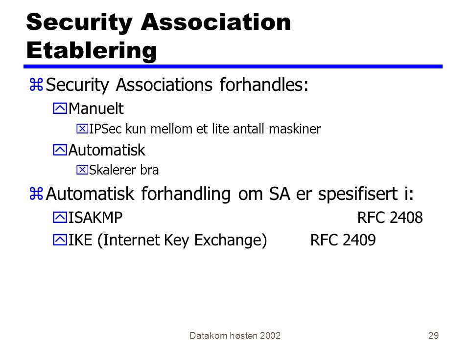 Datakom høsten 200229 Security Association Etablering zSecurity Associations forhandles: yManuelt xIPSec kun mellom et lite antall maskiner yAutomatisk xSkalerer bra zAutomatisk forhandling om SA er spesifisert i: yISAKMPRFC 2408 yIKE (Internet Key Exchange)RFC 2409