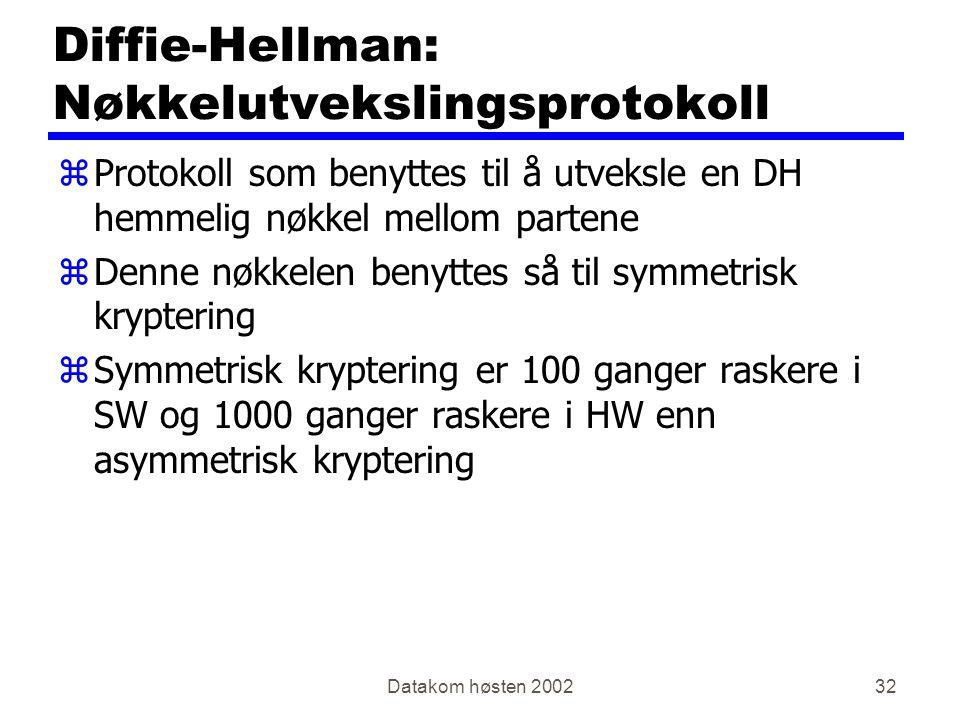 Datakom høsten 200232 Diffie-Hellman: Nøkkelutvekslingsprotokoll zProtokoll som benyttes til å utveksle en DH hemmelig nøkkel mellom partene zDenne nøkkelen benyttes så til symmetrisk kryptering zSymmetrisk kryptering er 100 ganger raskere i SW og 1000 ganger raskere i HW enn asymmetrisk kryptering