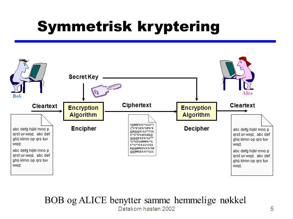 Datakom høsten 20026 Asymmetrisk kryptering One Key to Encipher Another Key to Encipher Cleartext Cleartext Encryption Algorithm Ciphertext Ciphertext EncipherDecipher BOB og ALICE benytter forskjellige nøkler BOB benytter ALICE sin offentlige nøkkel ALICE benytter sin private nøkkel Alice Bob