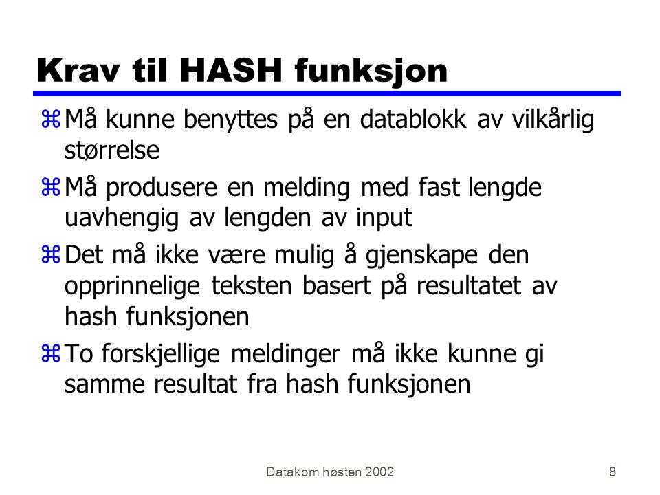 Datakom høsten 20029 En veis hash (1) Tekst Digest Hash Algoritme Melding sendt til Alice Bob
