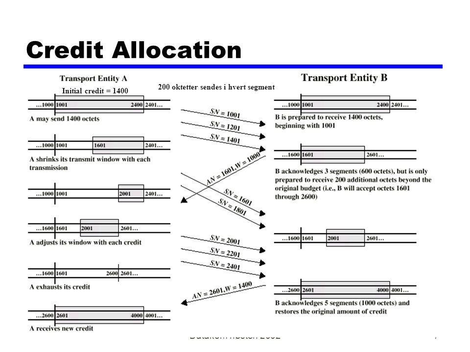 Datakom høsten 20027 Credit Allocation 200 oktetter sendes i hvert segment Initial credit = 1400