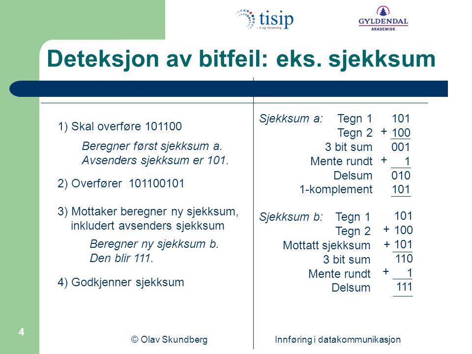 © Olav Skundberg Innføring i datakommunikasjon 5 Pålitelig overføring med TCP Først må det etablerers forbindelse Så kan data overføres, kvitteringer tilbake Til slutt koples forbindelsen ned TCP har flyt- og metningskontroll Sendevindu reguleres av begge disse faktorene