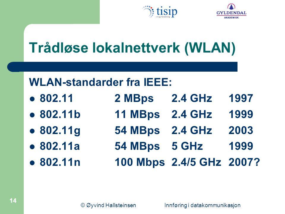 © Øyvind Hallsteinsen Innføring i datakommunikasjon 14 Trådløse lokalnettverk (WLAN) WLAN-standarder fra IEEE: 802.112 MBps2.4 GHz1997 802.11b11 MBps2.4 GHz1999 802.11g54 MBps2.4 GHz2003 802.11a 54 MBps5 GHz1999 802.11n 100 Mbps2.4/5 GHz2007?