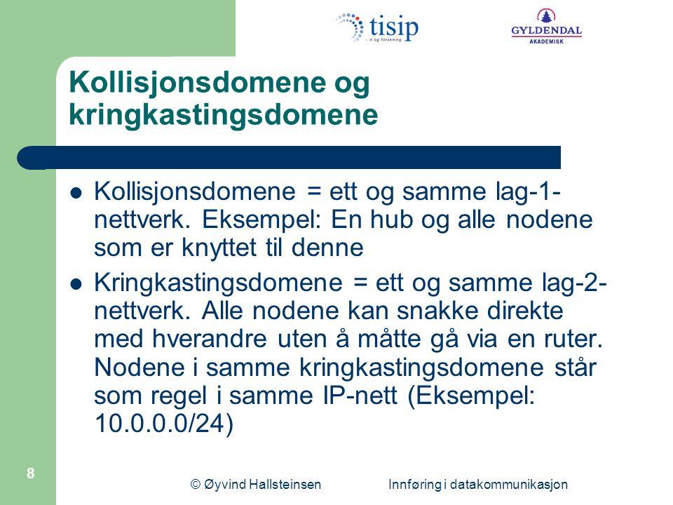© Øyvind Hallsteinsen Innføring i datakommunikasjon 8 Kollisjonsdomene og kringkastingsdomene Kollisjonsdomene = ett og samme lag-1- nettverk.