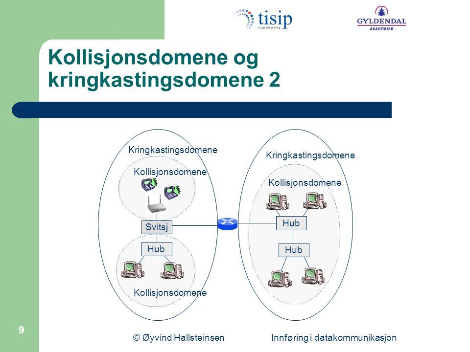 © Øyvind Hallsteinsen Innføring i datakommunikasjon 10 Regulering av tilgang til mediet med CSMA/CD I Ethernet med delt medium (koaksialkabel, hub) må tilgang til mediet reguleres så ingen snakker i munnen på hverandre .