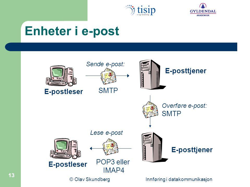 © Olav Skundberg Innføring i datakommunikasjon 13 SMTP Sende e-post: Lese e-post POP3 eller IMAP4 E-postleser E-posttjener Overføre e-post: SMTP Enheter i e-post