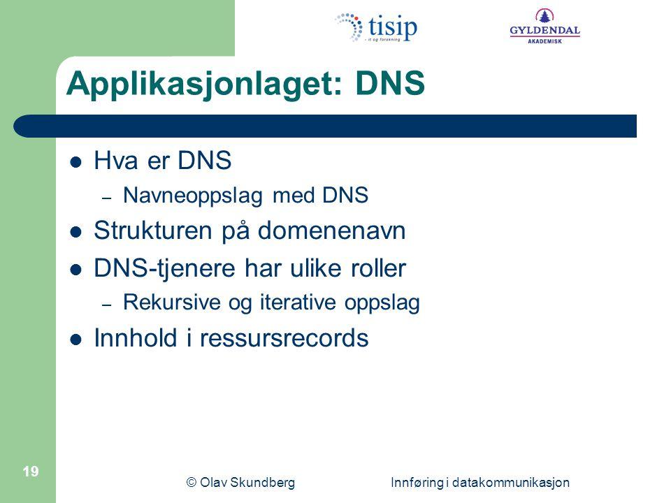 © Olav Skundberg Innføring i datakommunikasjon 19 Applikasjonlaget: DNS Hva er DNS – Navneoppslag med DNS Strukturen på domenenavn DNS-tjenere har ulike roller – Rekursive og iterative oppslag Innhold i ressursrecords