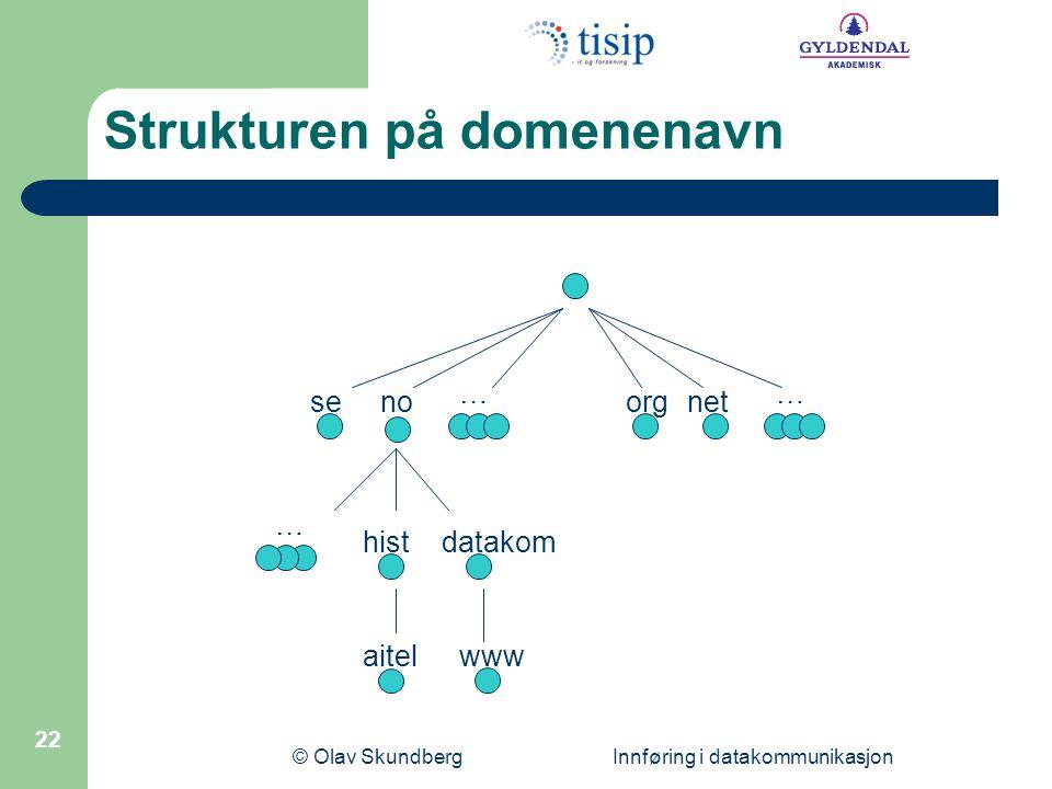 © Olav Skundberg Innføring i datakommunikasjon 22 senoorgnet datakomhist aitelwww …… … Strukturen på domenenavn