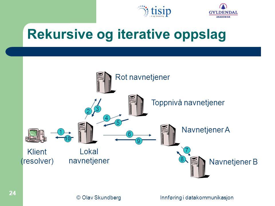 © Olav Skundberg Innføring i datakommunikasjon 24 Rot navnetjener Toppnivå navnetjener Lokal navnetjener Navnetjener A Navnetjener B 1 2 3 4 5 10 6 9 7 8 Klient (resolver) Rekursive og iterative oppslag