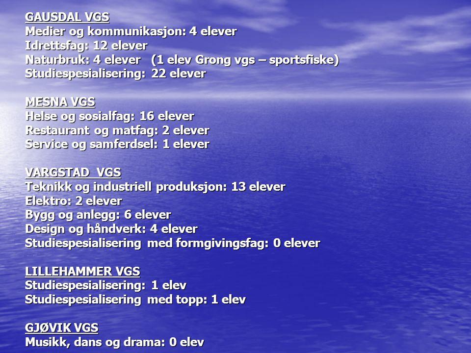 GAUSDAL VGS Medier og kommunikasjon: 4 elever Idrettsfag: 12 elever Naturbruk: 4 elever (1 elev Grong vgs – sportsfiske) Studiespesialisering: 22 elev