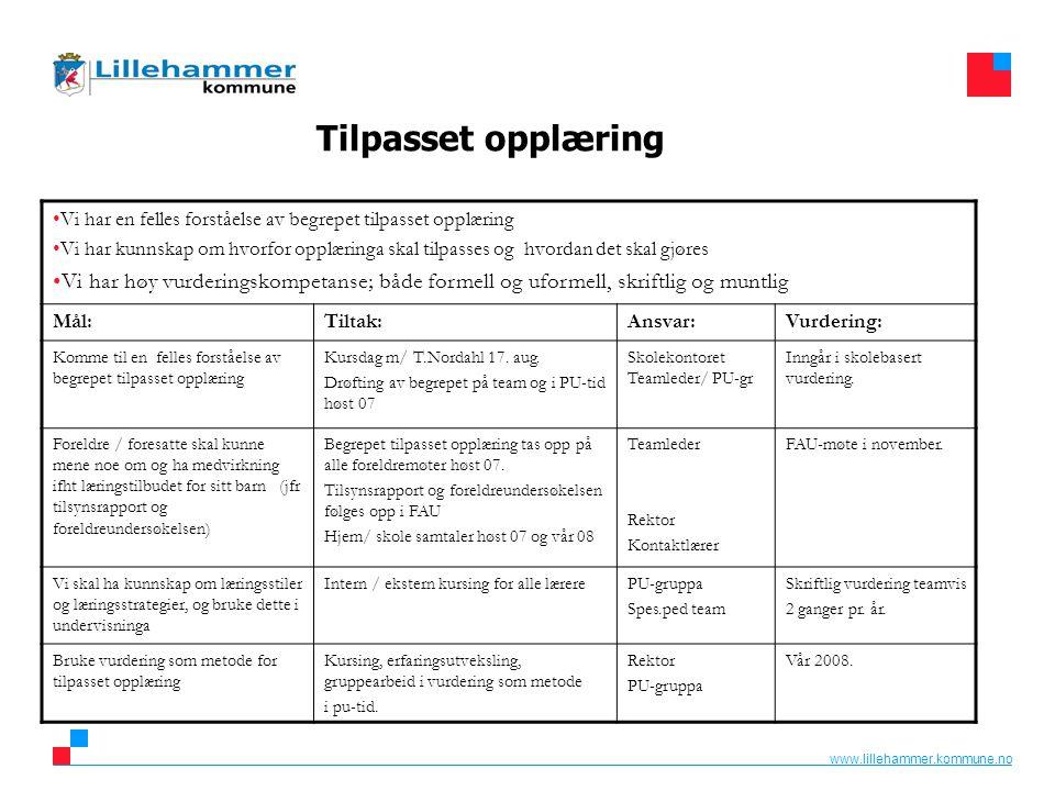 www.lillehammer.kommune.no Tilpasset opplæring Vi har en felles forståelse av begrepet tilpasset opplæring Vi har kunnskap om hvorfor opplæringa skal