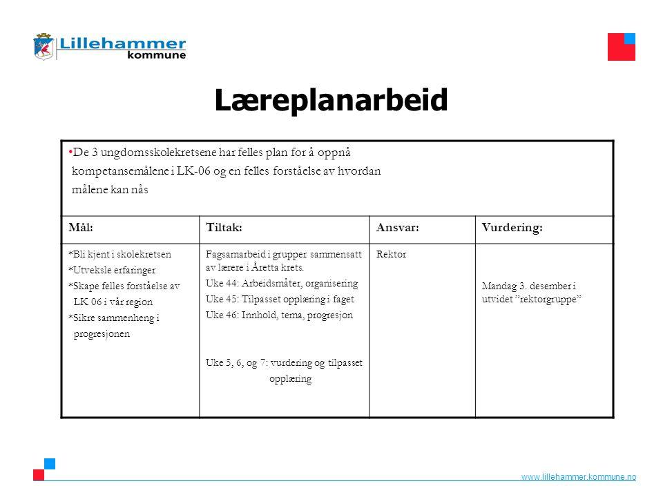 www.lillehammer.kommune.no Læreplanarbeid De 3 ungdomsskolekretsene har felles plan for å oppnå kompetansemålene i LK-06 og en felles forståelse av hv