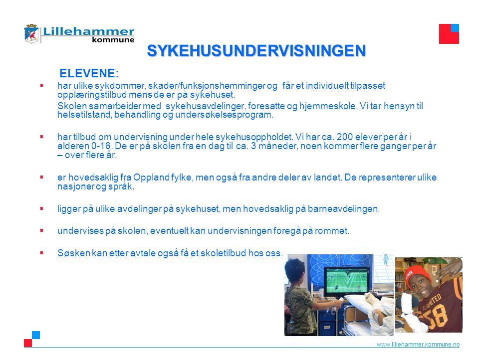 www.lillehammer.kommune.no ELEVENE:  har ulike sykdommer, skader/funksjonshemminger og får et individuelt tilpasset opplæringstilbud mens de er på sy