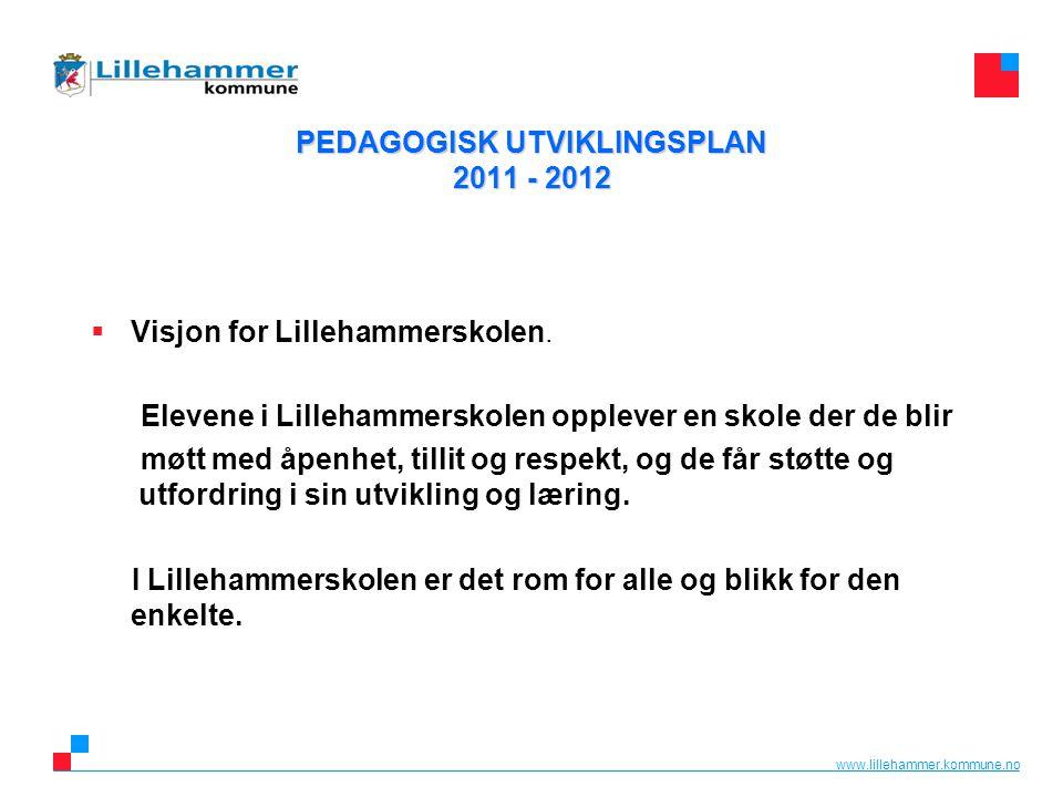 www.lillehammer.kommune.no PEDAGOGISK UTVIKLINGSPLAN 2011 - 2012  Visjon for Lillehammerskolen. Elevene i Lillehammerskolen opplever en skole der de