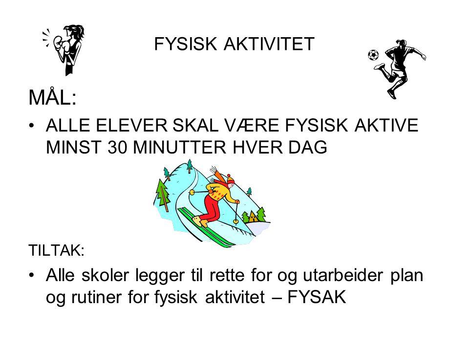 FYSISK AKTIVITET MÅL: ALLE ELEVER SKAL VÆRE FYSISK AKTIVE MINST 30 MINUTTER HVER DAG TILTAK: Alle skoler legger til rette for og utarbeider plan og ru