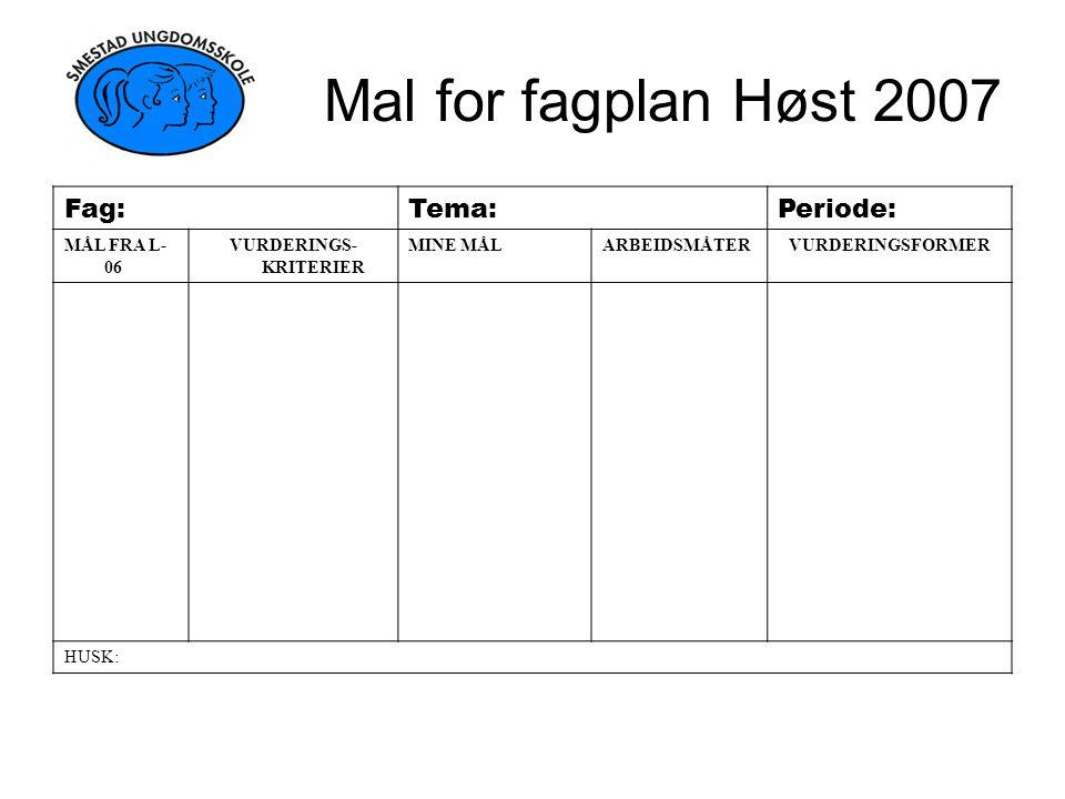 Mal for fagplan Høst 2007 Fag:Tema:Periode: MÅL FRA L- 06 VURDERINGS- KRITERIER MINE MÅLARBEIDSMÅTERVURDERINGSFORMER HUSK: