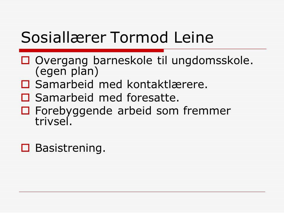 Sosiallærer Tormod Leine  Overgang barneskole til ungdomsskole. (egen plan)  Samarbeid med kontaktlærere.  Samarbeid med foresatte.  Forebyggende