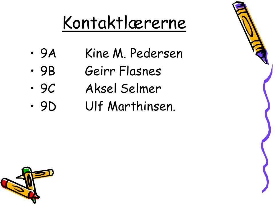 Kontaktlærerne 9A Kine M. Pedersen 9BGeirr Flasnes 9C Aksel Selmer 9DUlf Marthinsen.