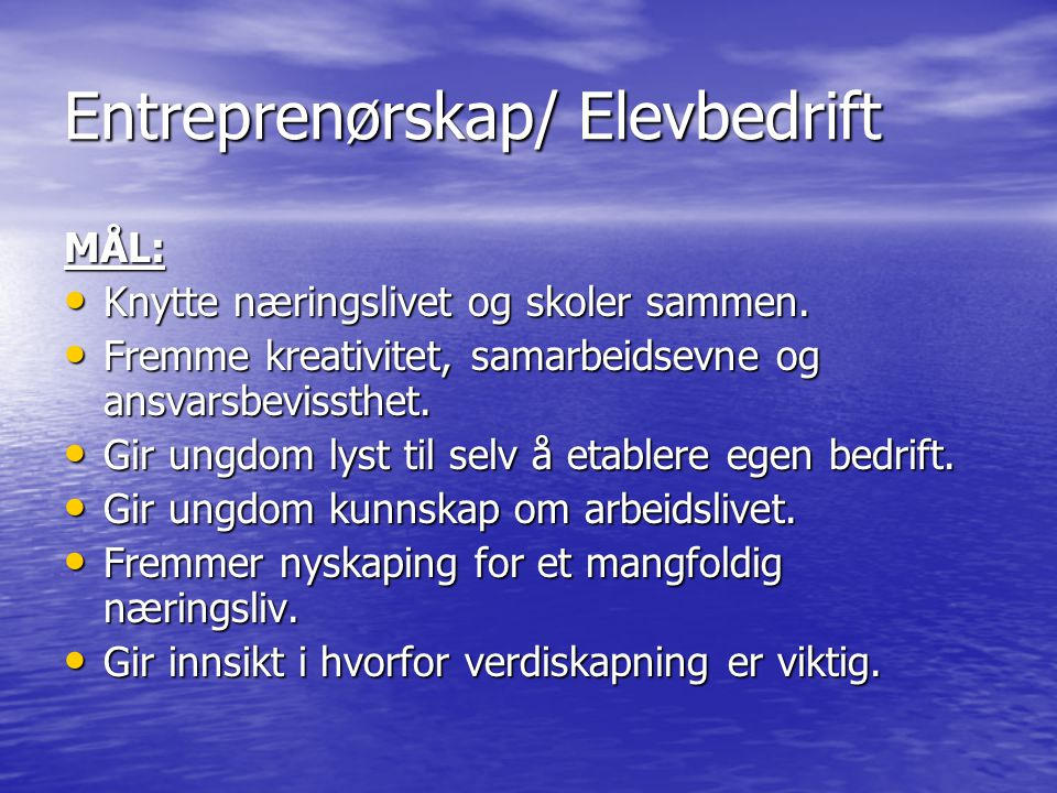 Entreprenørskap/ Elevbedrift MÅL: Knytte næringslivet og skoler sammen. Knytte næringslivet og skoler sammen. Fremme kreativitet, samarbeidsevne og an