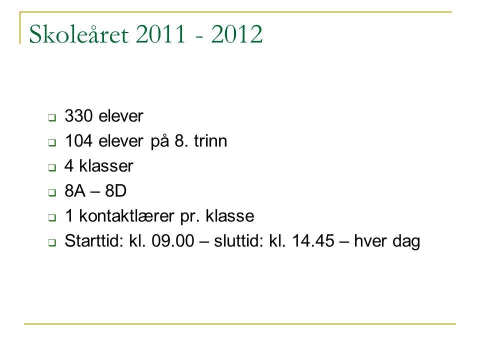 Skoleåret 2011 - 2012  330 elever  104 elever på 8. trinn  4 klasser  8A – 8D  1 kontaktlærer pr. klasse  Starttid: kl. 09.00 – sluttid: kl. 14.
