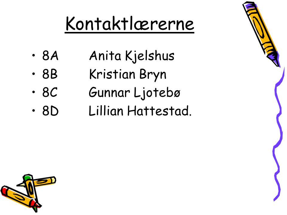 Kontaktlærerne 8A Anita Kjelshus 8BKristian Bryn 8C Gunnar Ljotebø 8DLillian Hattestad.