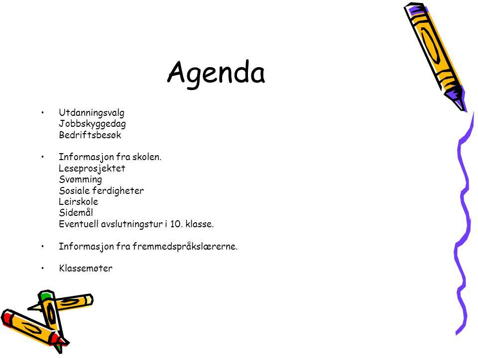 Agenda Utdanningsvalg Jobbskyggedag Bedriftsbesøk Informasjon fra skolen. Leseprosjektet Svømming Sosiale ferdigheter Leirskole Sidemål Eventuell avsl