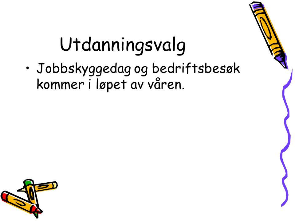 Utdanningsvalg Jobbskyggedag og bedriftsbesøk kommer i løpet av våren.