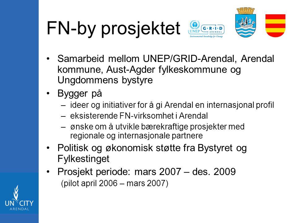 FN-by prosjektet Samarbeid mellom UNEP/GRID-Arendal, Arendal kommune, Aust-Agder fylkeskommune og Ungdommens bystyre Bygger på –ideer og initiativer f