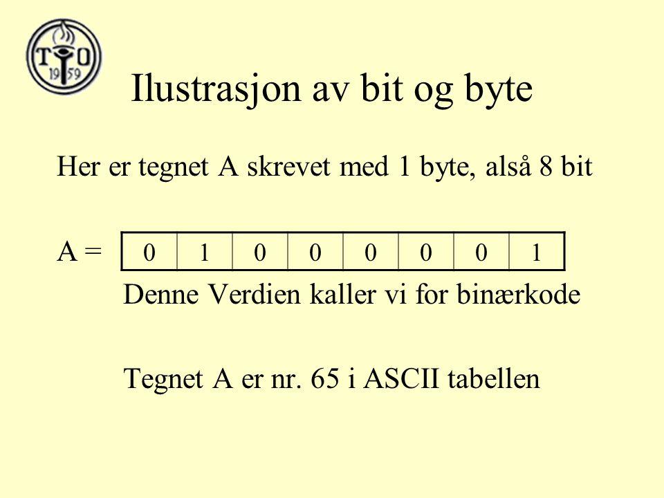 Ilustrasjon av bit og byte Her er tegnet A skrevet med 1 byte, alså 8 bit A = Denne Verdien kaller vi for binærkode Tegnet A er nr.