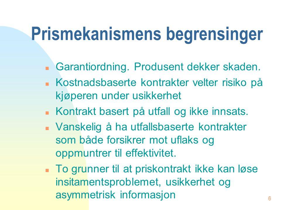 6 Prismekanismens begrensinger n Garantiordning. Produsent dekker skaden.