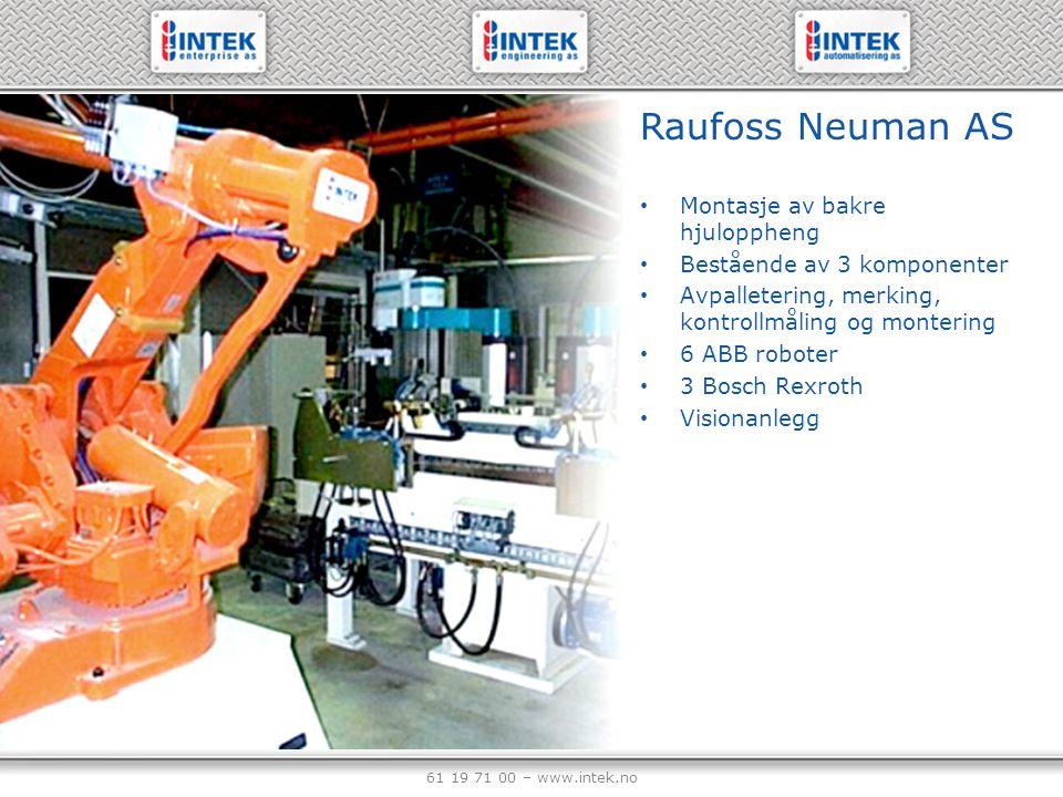 61 19 71 00 – www.intek.no Raufoss Neuman AS Montasje av bakre hjuloppheng Bestående av 3 komponenter Avpalletering, merking, kontrollmåling og monter