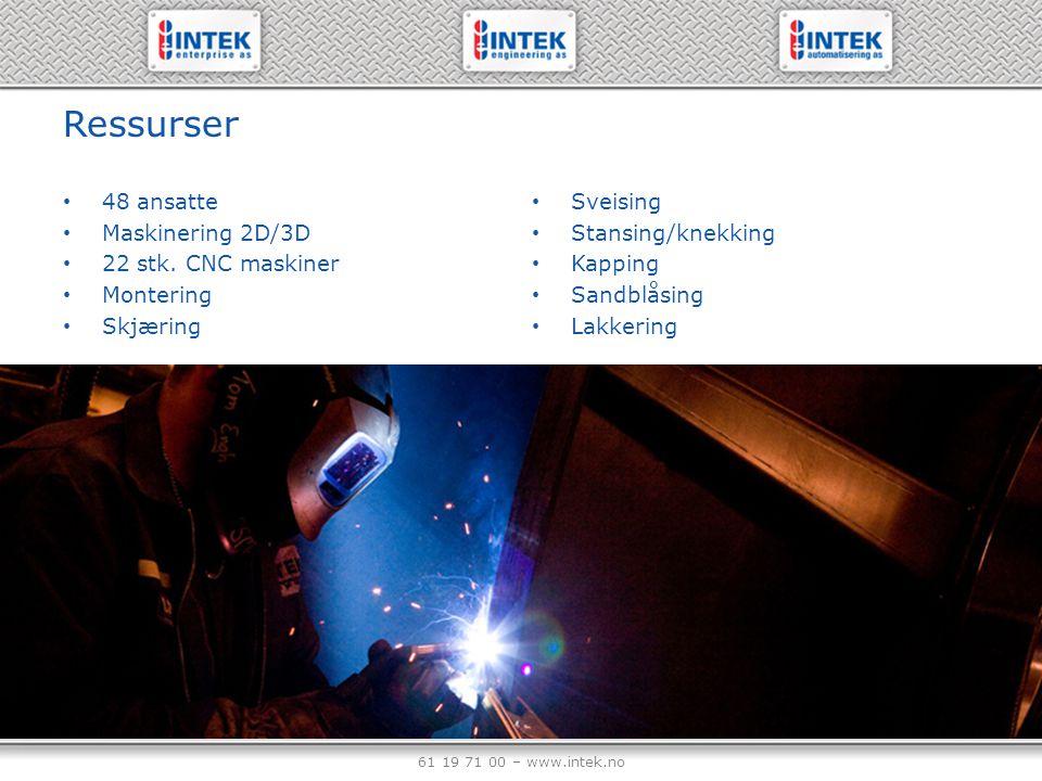 61 19 71 00 – www.intek.no Ressurser 48 ansatte Maskinering 2D/3D 22 stk. CNC maskiner Montering Skjæring Sveising Stansing/knekking Kapping Sandblåsi