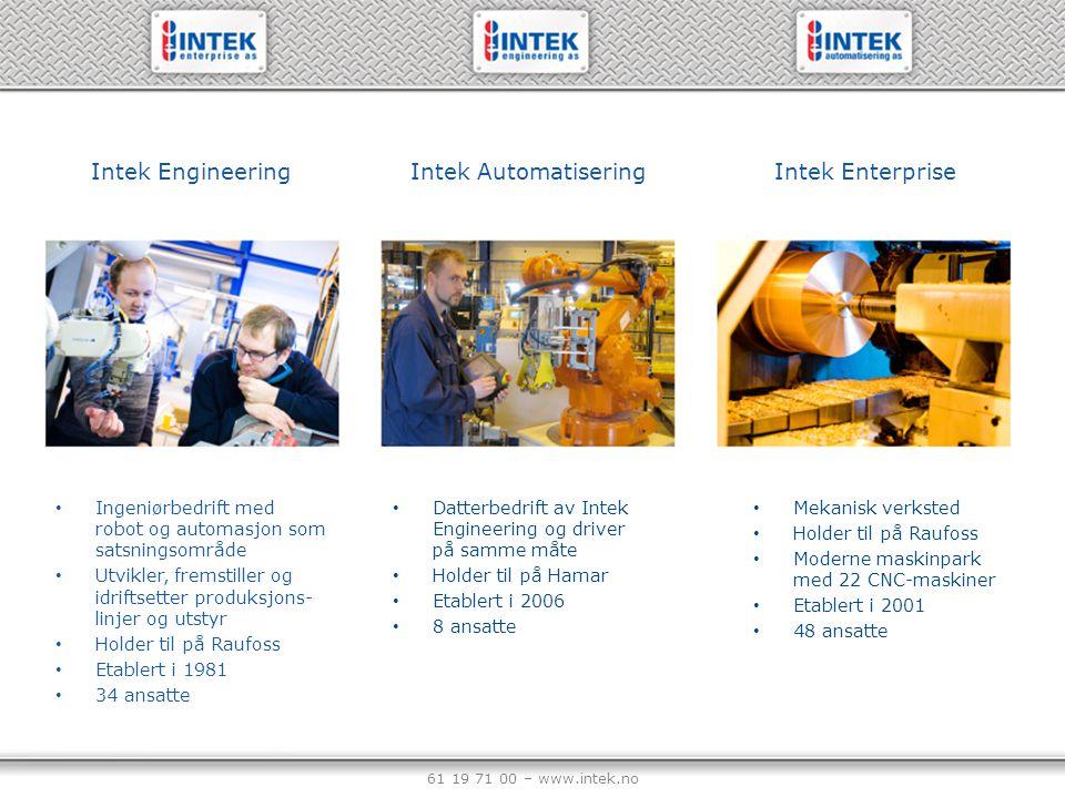 61 19 71 00 – www.intek.no Intek Engineering Ingeniørbedrift med robot og automasjon som satsningsområde Utvikler, fremstiller og idriftsetter produks