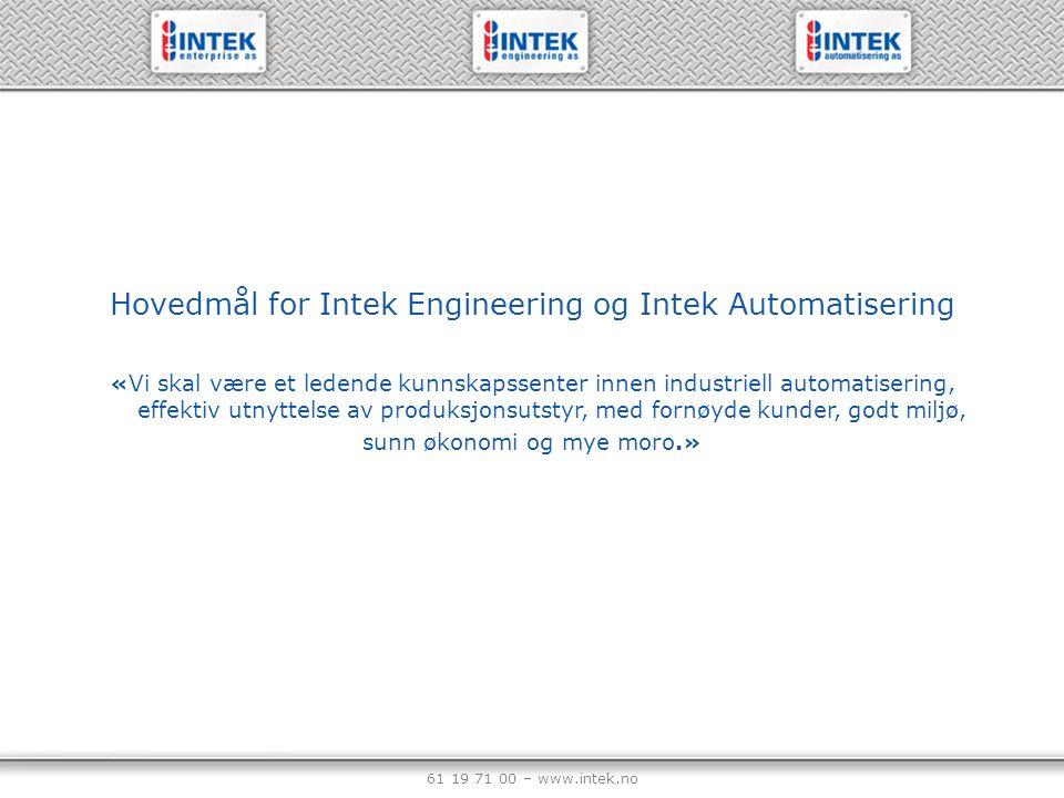 61 19 71 00 – www.intek.no Hovedmål for Intek Engineering og Intek Automatisering «Vi skal være et ledende kunnskapssenter innen industriell automatis
