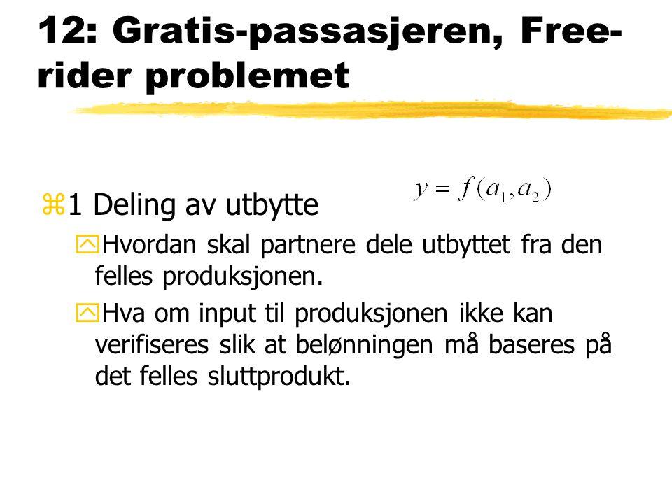 12: Gratis-passasjeren, Free rider problemet z1 Deling av utbytte yHvordan skal partnere dele utbyttet fra den felles produksjonen. yHva om input til